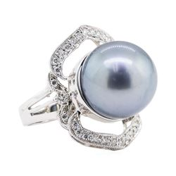 0.35 ctw Pearl and Diamond Ring - 14KT White Gold
