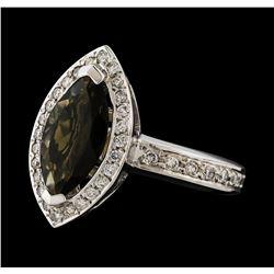 1.61 ctw Tourmaline and Diamond Ring - 14KT White Gold