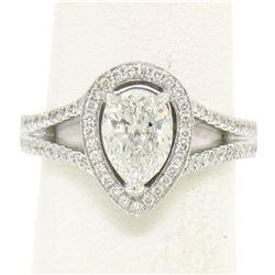 18K White Gold 1.92 ctw GIA Pear Cut Diamond Split Shank Halo Engagement Ring