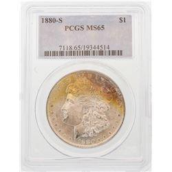 1880-S $1 Morgan Silver Dollar Coin PCGS MS65 AMAZING TONING