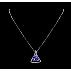 9.36 ctw Tanzanite and Diamond Pendant With Chain - 14KT White Gold
