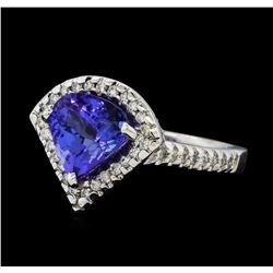 2.78 ctw Tanzanite and Diamond Ring - 14KT White Gold
