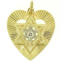 14K Two Tone Gold Heart Star of David .22 ctw Old Mine Cut Diamond Pendant