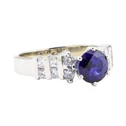 2.21 ctw Sapphire And Diamond Ring - 14KT White Gold