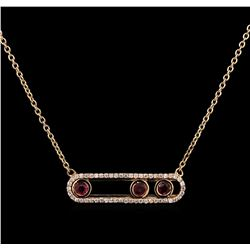 0.41 ctw Ruby and Diamond Necklace - 14KT Rose Gold