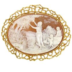 14k Solid Gold  Carved Shell Open Nugget Cameo Brooch Pendant