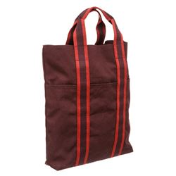 Hermes Burgundy Canvas Vertical Sac Fourre Tote Bag