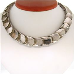 Designer Alicia Mexico Solid .970 Silver Wide Scalloped Grooved Choker Necklace