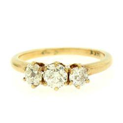 14K Yellow Gold .90 ctw 3 Stone Set Old Mine Cut Diamond Ring