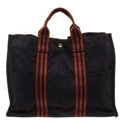 Hermes Brown Blue Navy Canvas Sac Fourre MM Tote Bag