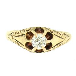 14k Yellow Gold Old European Cut Diamond Solitaire Engraved Belcher Ring