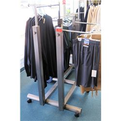 Metal Adjustable 4-Rack Clothing Display on Wheels (fixture only)