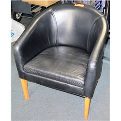 Black Round Leather-Like Upholstered Chair w/ Wooden Legs