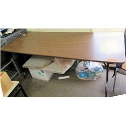 Folding Portable Wood Laminate Table w/ Metal Legs