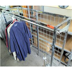 Stationary Metal Single Pole Clothing Display Rack w/ Wire Back
