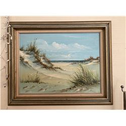 Original Painting on Canvas - Sand, Sea and Seagulls, Artist Hoffman