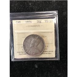 1934 CANADA 50 CENTS.ICCS GRADED VG-10.NICE KEY DATE.