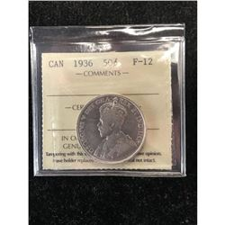1936 CANADA 50 CENTS.ICCS GRADED F-12.NICE KEY DATE