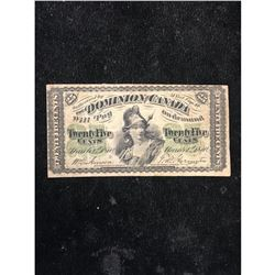1870 DOMINION OF CANADA 25 CENT NOTE.SHINPLASTER..SMALL B