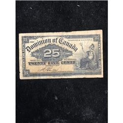 1900 DOMINION OF CANADA 25 CENT NOTE.SHINPLASTER.. BOVILLE