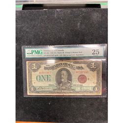 1923 DOMINION OF CANADA $1 NOTE..PMG GRADED VF-25