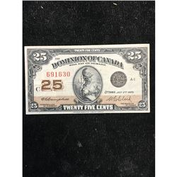 1923 DOMINION OF CANADA 25 CENT NOTE.SHINPLASTER.. CAMPBELL/CLARK