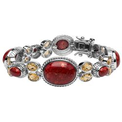 """Sterling Silver Red Coral & Citrine Bracelet 6.7"""""""