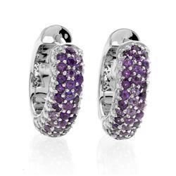 Silver Jade & Amethyst Reversible Hoop Earrings