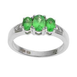 Silver Green Garnet & Topaz 3-Stone Ring-SZ 7