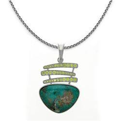 Silver Campo Frio Turquoise & Peridot Pendant