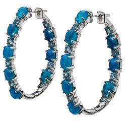 Sterling Silver Opal & Blue Topaz Hoop Earrings