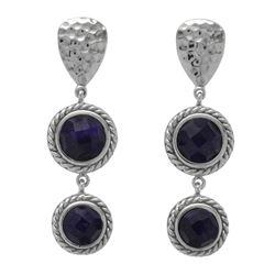Silver Sapphire Corundum Hammered Drop Earrings