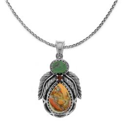 Silver Spiny Oyster & Turquoise Leaf Pendant