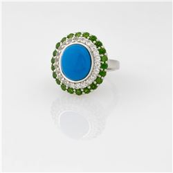 Silver Ceruleite & Chrome Diopside Halo Ring-SZ 6