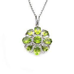Silver 5.65ctw Peridot & Topaz Floral Pendant