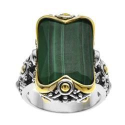 Silver Step Cut Malachite Beaded Ring-SZ 5