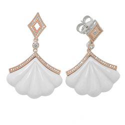 14K Rose Gold Vermeil Carved Agate Fan Earrings
