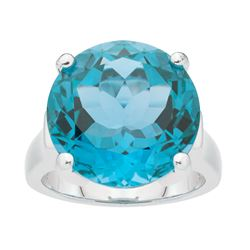 Silver 17.10ct Sky Blue Topaz Solitaire Ring-SZ 6