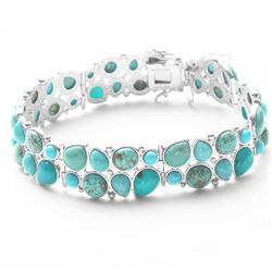"Silver Multi Turquoise Two Row Bracelet 7.2"""