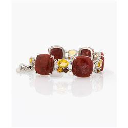 Silver Coral & Multi Gemstone Toggle Bracelet