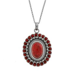 Sterling Silver Oval Coral Flower Pendant