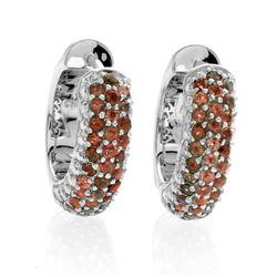 Silver Jade & Garnet Reversible Hoop Earrings
