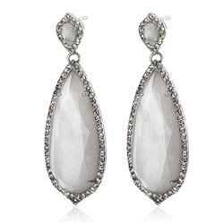 Silver Milky Quartz & White Topaz Drop Earrings