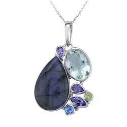Sterling Silver Multi Gemstone Pendant