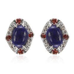 Sterling Silver Lapis & Gemstones Stud Earrings