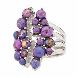 Silver Purple Mohave Turquoise Cluster Ring-SZ 7