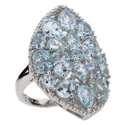Sterling Silver 5.51ct Blue Topaz Shield Ring-SZ 6
