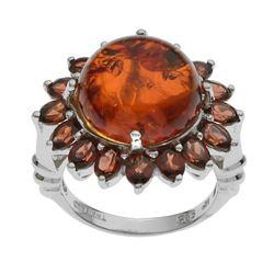 Sterling Silver Amber & Garnet Flower Ring-SZ 8