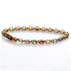 "Silver Multi Gemstones Tennis Bracelet 7.5"""