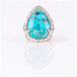 Silver Turquoise & White Zircon Halo Ring-SZ 8